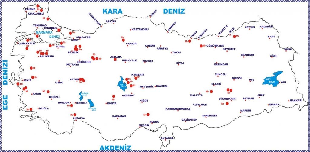 Türkiye Mermer Yatakları Haritası